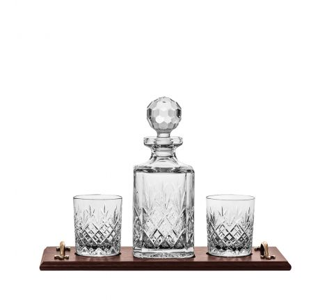 Edinburgh Whisky Tray Set - (Square Decanter & 2 Large Tumblers on a solid oak wooden tray) (Gift Boxed) | Royal Scot Crystal