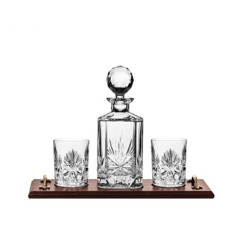 Edinburgh Star - Whisky Tray Set (Square Spirit Decanter & 2 Large Tumblers) | Royal Scot Crystal