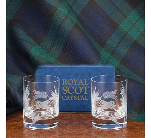 Flower of Scotland (thistle) - 2 Tot (Shot)Glasses (Matt, Straight Sided) 60mm (Gift Boxed) | Royal Scot Crystal