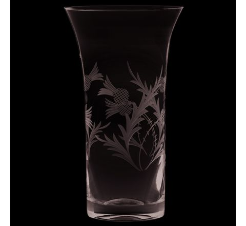 Flower of Scotland (thistle) Flared Vase 200mm (Gift Boxed) | Royal Scot Crystal