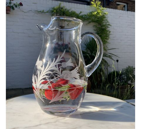 Flower of Scotland (Thistle) - Large Water Jug 2 litre, 240mm (Gift Boxed) | Royal Scot Crystal - NEW