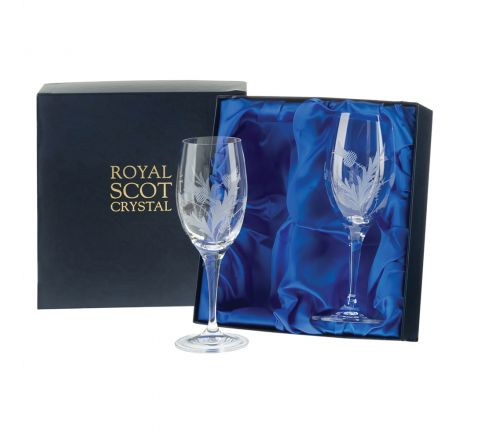 Flower of Scotland (thistle) - 2 Large Crystal Wine Glasses 216mm (Presentation Boxed) | Royal Scot Crystal