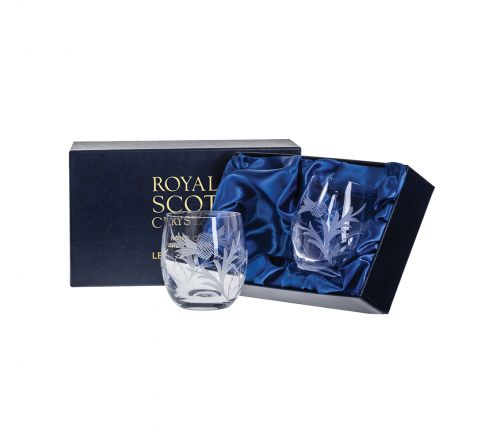 Flower of Scotland (thistle) - 2 Whisky Tumblers (Barrel Shape) 86mm (Presentation Boxed) | Royal Scot Crystal