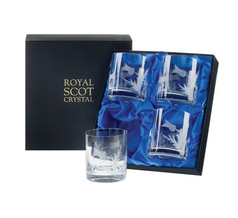 Flower of Scotland (thistle) - 4 Large Crystal Tumblers 88mm (Presentation Boxed) | Royal Scot Crystal