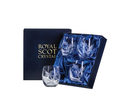 Flower of Scotland (thistle) - 4 Whisky Tumblers ( Barrel Shaped) 86mm (Presentation Boxed) | Royal Scot Crystal