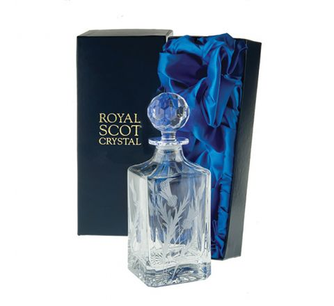 Flower of Scotland (thistle) - Square Spirit Decanter 245mm (Presentation Boxed) | Royal Scot Crystal