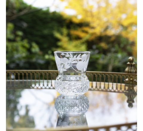 Flower of Scotland Tot Glass (Shot) (Thistle Shape) - 60mm (Gift Boxed) | Royal Scot Crystal