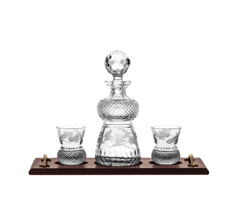 Flower of Scotland Solid Oak Whisky Tray & Crystal Thistle Shaped Round Spirit Decanter & 2 Crystal Whisky Tumblers (Thistle Shaped) (Gift Boxed) | Royal Scot Crystal