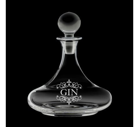 Gin Engraved Ships Decanter, Classic Collection - 225mm (Gift Boxed) | Royal Scot Crystal