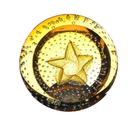 Gold Star Glass Paperweight, 80mm (Celebration) | James Pirie