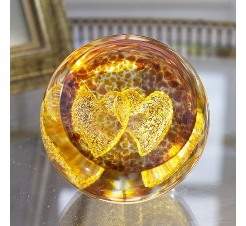 Gold Love Hearts Glass paperweight / Ornament - Exclusive to James Pirie 60mm | Caithness Glass