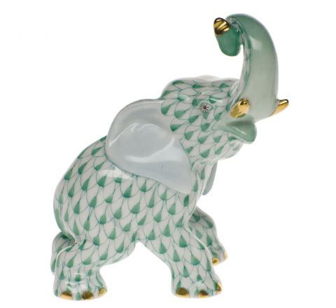 Trumpeting Elephant Green - Porcelain Animal Figurine 85mm | Herend
