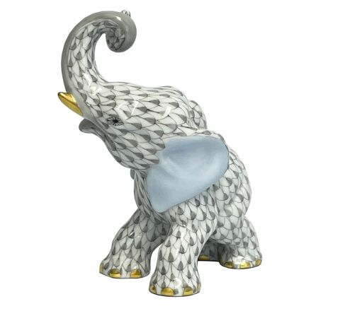 Trumpeting Elephant Grey -  Porcelain Animal Figurine 85mm | Herend