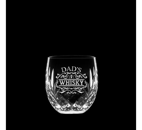 Highland Crystal single Barrel Whisky Tumbler engraved 'Dad's Whisky', Perfect for Father's Day 85mm (Gift Boxed) | Royal Scot Crystal
