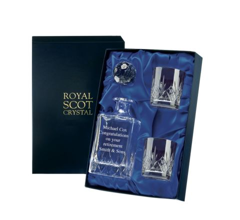 Highland Crystal Whisky Set Engraved Golfer (Presentation Boxed) | Royal Scot Crystal