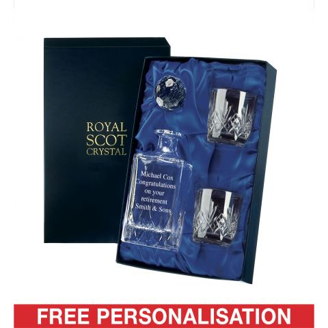 Personalised - Hand Cut Crystal Engraved Whisky Set Highland (O.F. Tumblers)  (Presentation Boxed) | Royal Scot Crystal