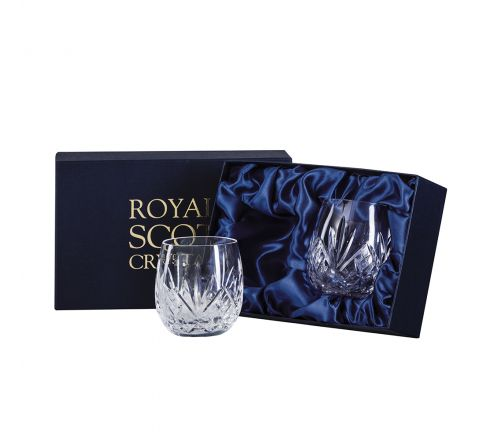 Highland Crystal 2 Gin & Tonic Tumblers (G&T) 12oz,95mm (Barrel Shaped) (Presentation Boxed) | Royal Scot Crystal
