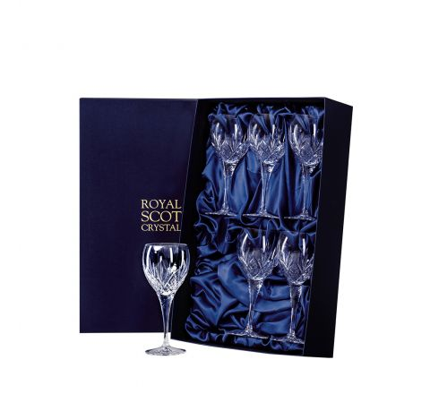 Highland - 6 Crystal Large Wine Glasses 210mm (Presentation Boxed) - New Shape | Royal Scot Crystal