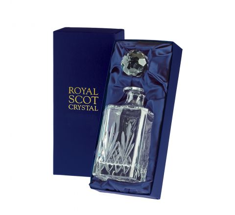 Highland - Crystal Square Spirit Decanter 245mm (Presentation Boxed) | Royal Scot Crystal