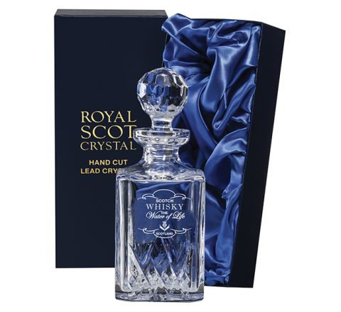 *Highland Square Spirit Crystal Decanter engraved 'Whisky - The Water of Life' 245mm (Presentation Boxed) | Royal Scot Crystal