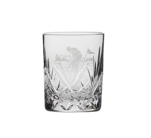 Highland Crystal Whisky Small Tumbler Male Golfer Putting (single) (GIFT BOXED)