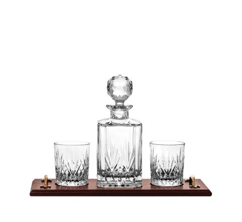Highland Crystal Whisky Tray Set (1 Crystal Square Spirit Decanter & 2 Tumblers (solid oak tray) | Royal Scot Crystal