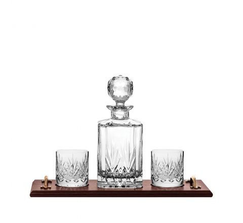 Highland Crystal Whisky Tray Set (Square Spirit Decanter & 2 Old Fashioned Tumblers (solid oak tray) | Royal Scot Crystal