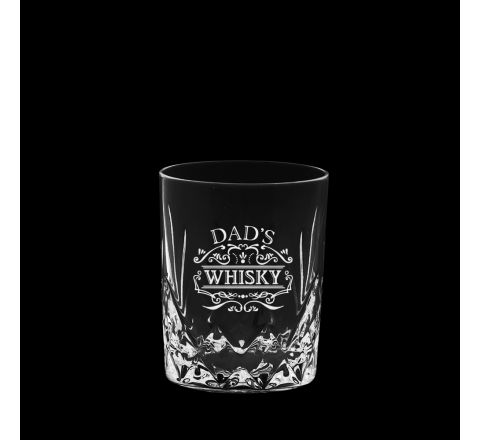 Highland Crystal single Whisky Tumbler engraved 'Dad's Whisky', Perfect for Father's Day 87mm  (Gift Boxed) | Royal Scot Crystal