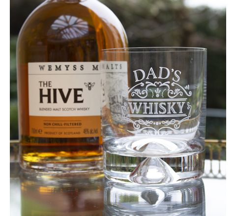 Large Tumbler (Dimple Based) Engraved DAD'S WHISKY  (Gift Boxed) - Perfect for Father's Day