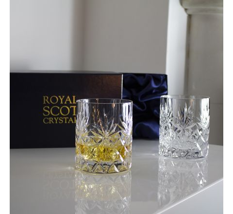 Kintyre - 2 Large On the Rocks Tumblers 100 mm (Presentation Boxed) | Royal Scot Crystal