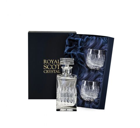 Iona Gin Set (Presentation Boxed)(sq Gin Decanter & 2 G&T Barrel Tumblers) | Royal Scot Crystal