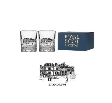 Kintyre - 2 Crystal Tot (Shot) Glasses engraved St Andrews Club House (Gift Boxed)