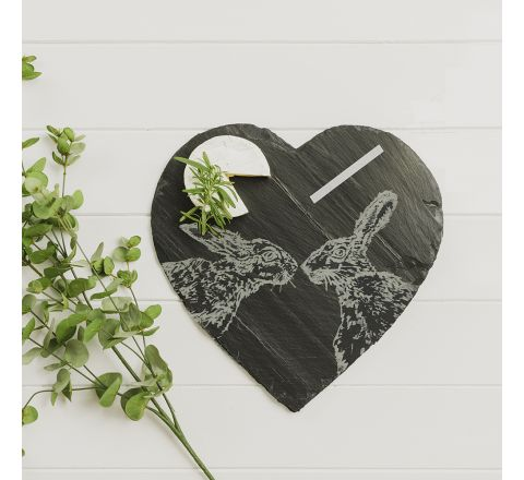Kissing Hare Slate Cheese Board with Chalk Pencil 300mm (Gift Boxed) |Just Slate