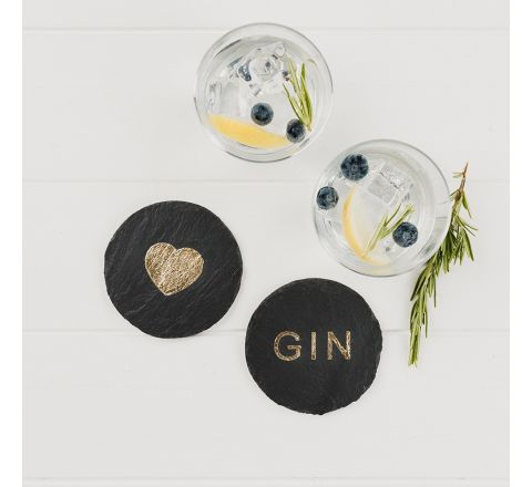 2 Gold Love Gin Coasters 110mm | James Pirie