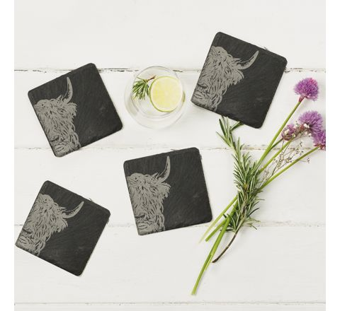 Slate Highland Cow Coasters (set of 4)