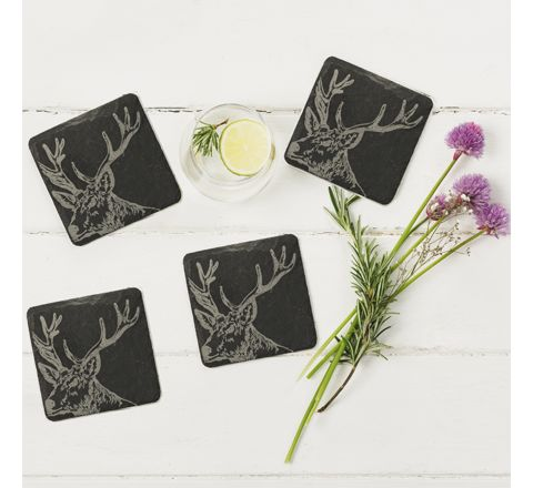 Slate Stag Coasters (set of 4)
