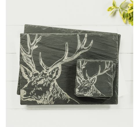 Stag  Slate Coasters & Place Mats (set of 2)