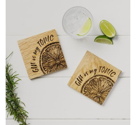 2 Gin is my Tonic Oak Coasters 11cm | James Pirie