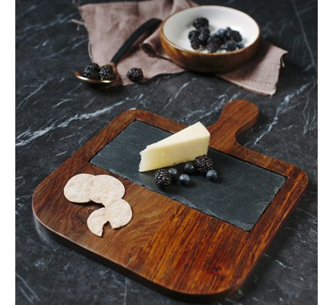 Sheesham Wood Serving Paddle with Slate Insert