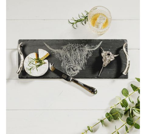 Highland Cow Slate Tray, with horn shaped handles Cheese Knife & Highland Cow Wine Pourer Gift Set