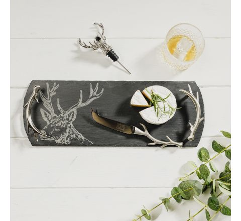 Stag Slate Tray/Cheese Knife with Antler Handles & Stag Wine Bottle Pourer Gift Set