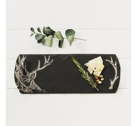 Small Slate Stag Serving Tray (with stainless steel antler shaped handles)
