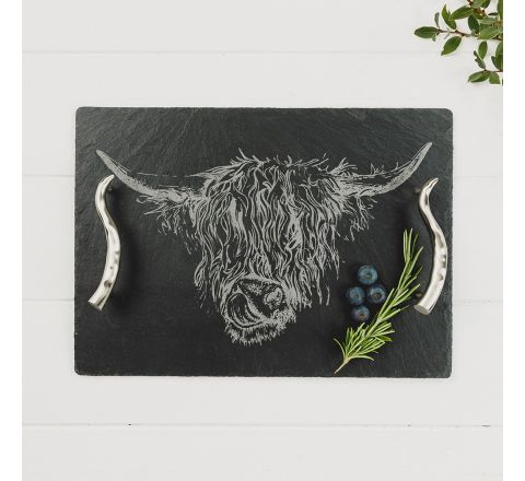 Medium Highland Cow Serving Tray w 350mm | Just Slate