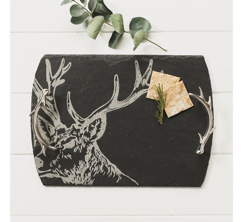 Medium Slate Stag Serving Tray (with stainless steel antler shaped handles)
