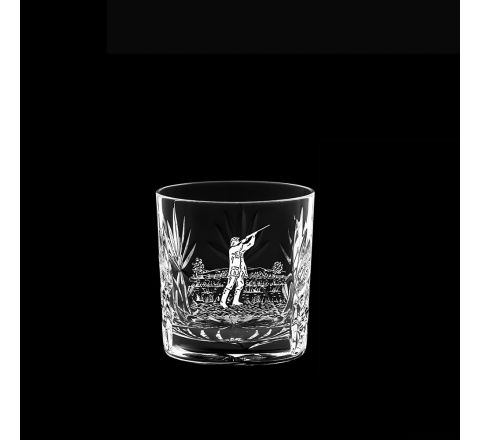 Kintyre - Single Whisky Tumbler (engraved Shooting Scene) - (84mm, 26cl) (Gift Boxed) | Royal Scot Crystal