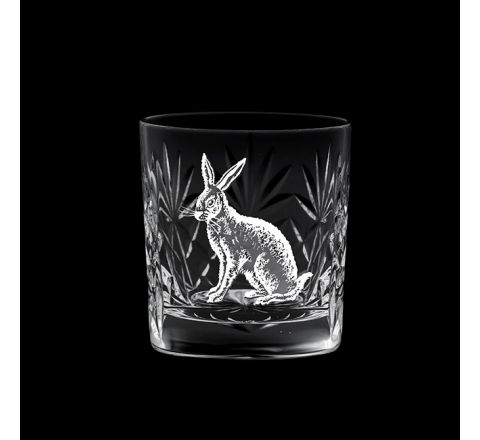 British Wildlife - Kintyre Whisky Tumbler engraved HARE (84mm, 26cl) (Gift Boxed)