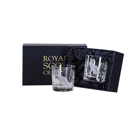 British Wildlife - 2 Kintyre Whisky Tumblers engraved HARE (84mm, 26cl) (Presentation Boxed)