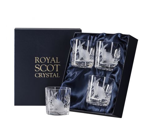British Wildlife - 4 Kintyre Whisky Tumblers engraved HARE (84mm, 26cl) (Presentation Boxed)