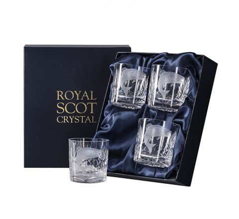 British Wildlife - 4 Kintyre Whisky Tumblers engraved SALMON (84mm, 26cl) (Presentation Boxed)