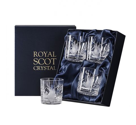 British Wildlife - 4 Kintyre Whisky Tumblers engraved STAG (84mm, 26cl) (Presentation Boxed)